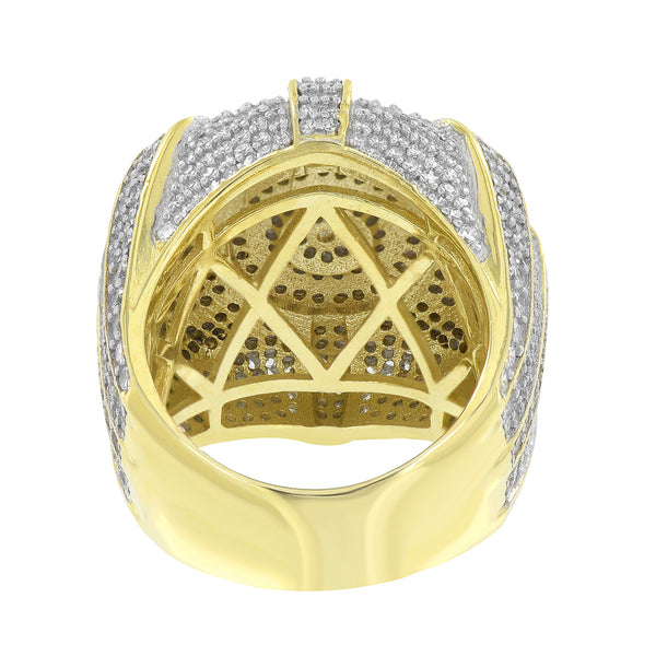 Mens Gold Finish Ring Sterling Silver Iced Out Custom Designer New