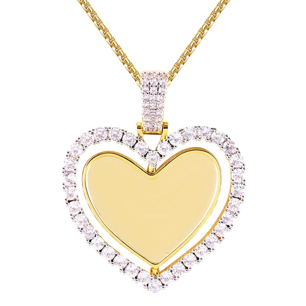 Double Side Solitaire Heart Rotating Picture Memory Pendant