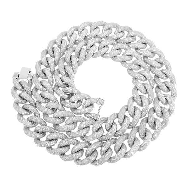 Miami Cuban Chain 22mm White Gold On Sterling Silver 925 32in