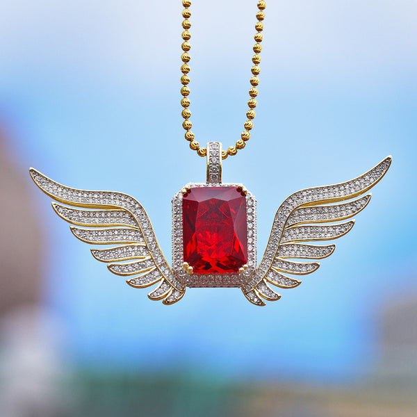 Red Ruby Angel Wings Pendant Necklace Set