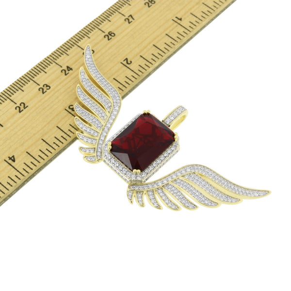 Angel Wings Ruby Pendant Sterling Silver
