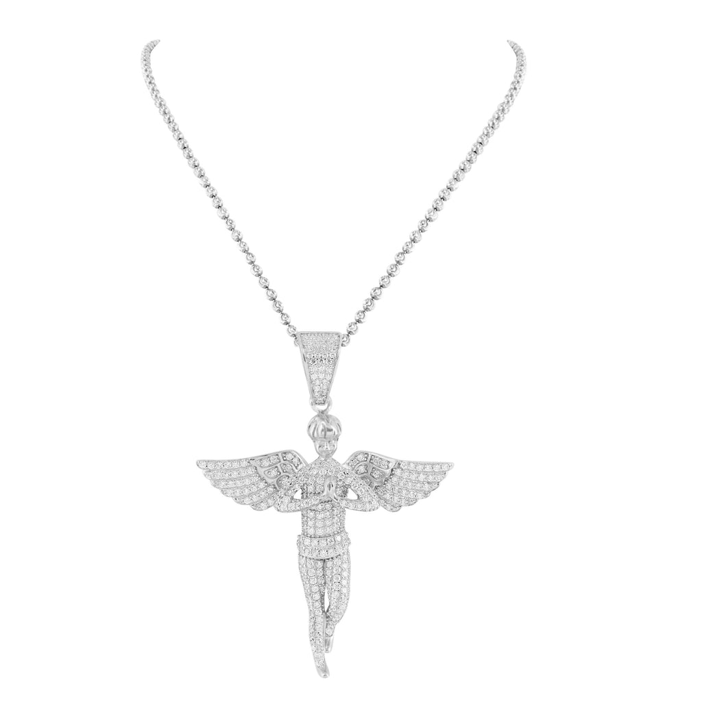 Sterling silver angel pendant white gold tone iced out chain sterling silver angel pendant white gold tone iced out chain aloadofball Images