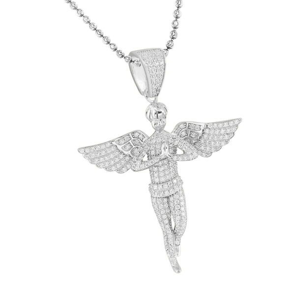 Sterling Silver Angel Pendant White Gold Tone Iced Out Chain