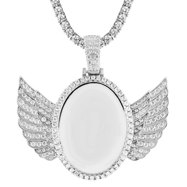 Oval Shape Silver Angel Wings Icy Picture Memory Pendant