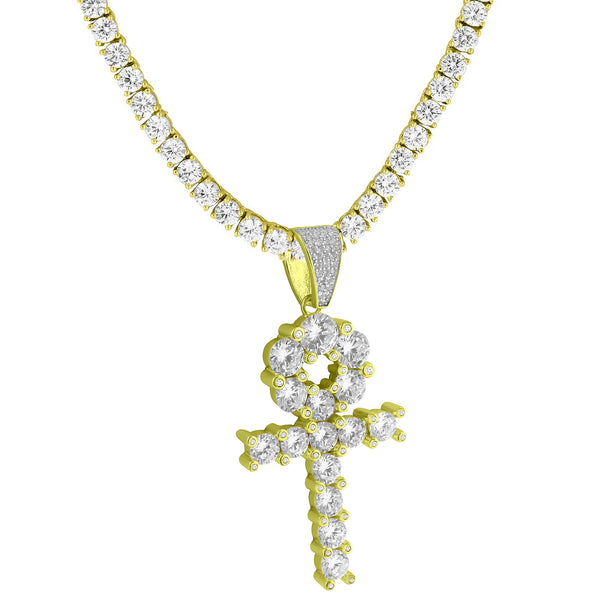 Solitaire Ankh Cross Pendant 14k Gold Over 925 Silver Round Tennis Chain