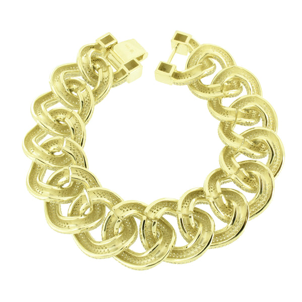 Gold Miami Cuban Chain Bracelet Set Sterling Silver Iced Out