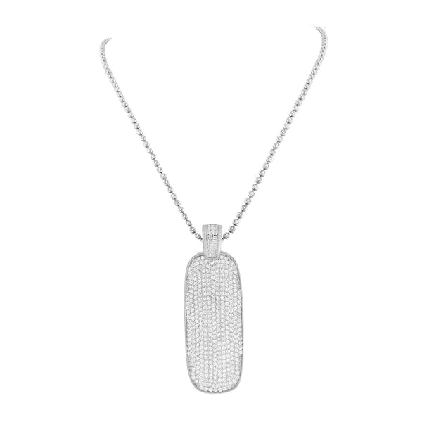 Skateboard Design Pendant Mens White Gold On 925 Silver Chain