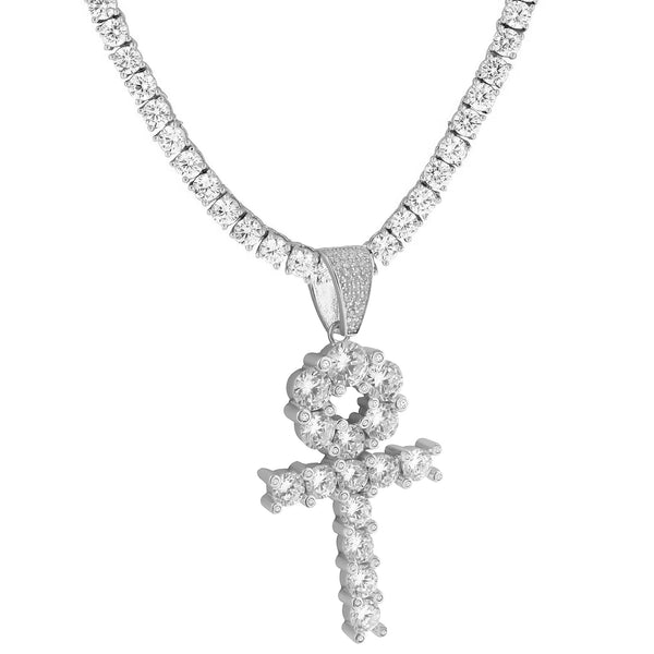 Solitaire Ankh Cross Pendant 14k White Gold Over 925 Silver Round Tennis Chain