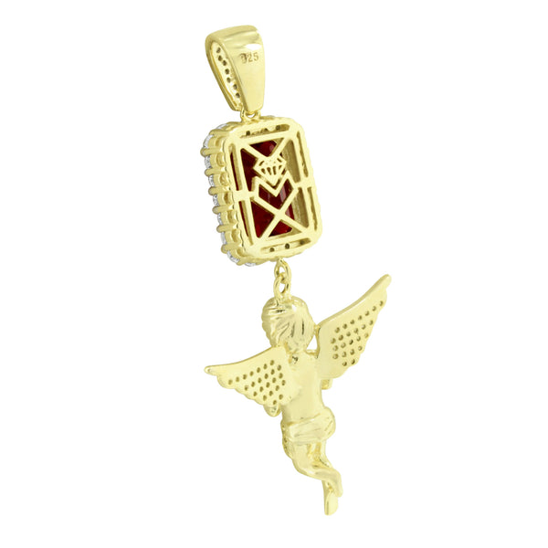 Guardian Angel Ruby Pendant 14K Gold On 925 Silver Yellow Lab Created Diamonds