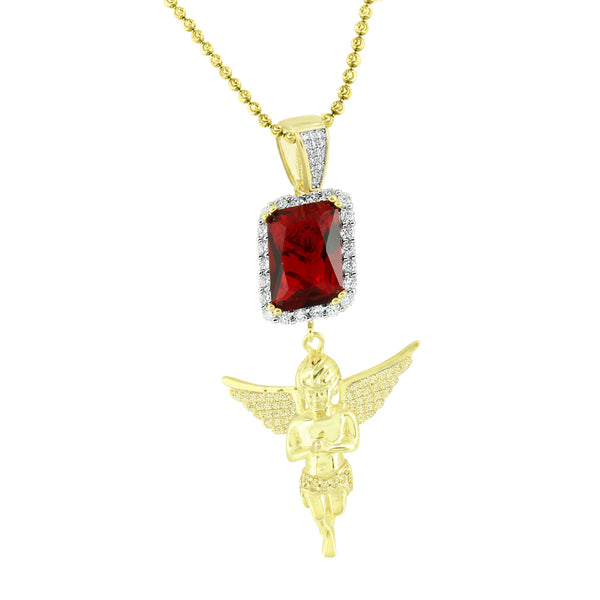 Angel With Garnet Ruby Pendant 14K Gold Finish Yellow