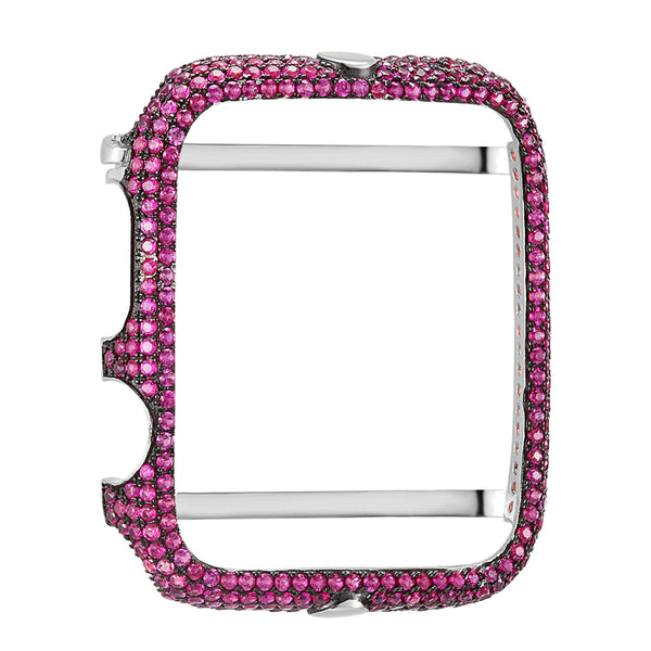 Custom Pink Lab Diamonds Micro Pave Sterling Silver 14k White Gold Finish 42mm Apple Series 1 Bezel