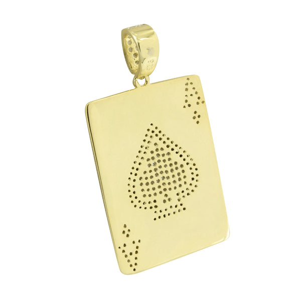 Mens Ace Of Spades Pendant Over Sterling Silver
