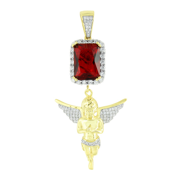 New Angel Red Ruby Pendant Lab Created Diamond Yellow Gold On Sterling Silver