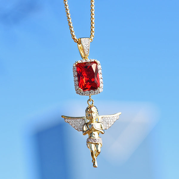 Red Ruby and Angel Pendant 14K Gold Finish Necklace Set