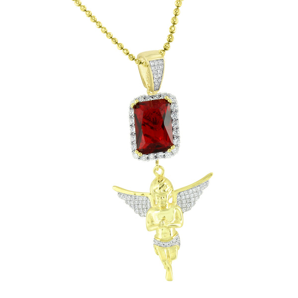 925 Silver Angel Pendant Garnet Ruby Solitaire Gold Tone