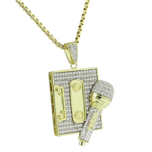 Mic Cassette Player Pendant Iced Out Old School Vintage 14K Gold Finish Stainless Steel 24