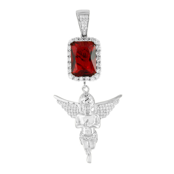 Garnet Ruby Guardian Angel Charm White Gold On 925 Silver
