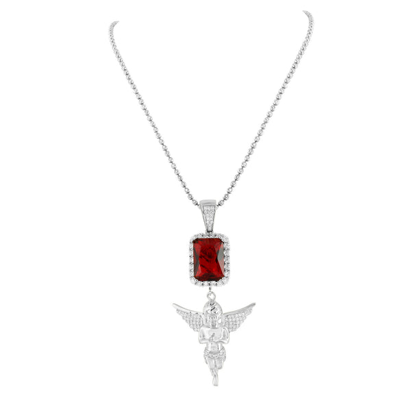 Sterling Silver Garnet Ruby Angel Pendant Moon Cut Necklace White Gold Finish