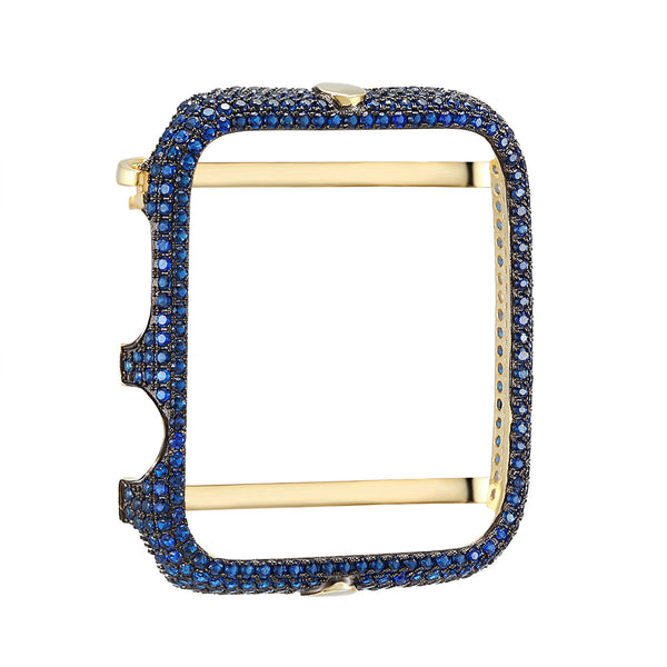 Designer 14k Gold Finish Blue Lab Diamonds Micro Pave Sterling Silver 42mm Apple Series 1 Bezel