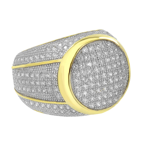 Yellow Gold Finish Ring Iced Out Sterling Silver Simulated Diamonds