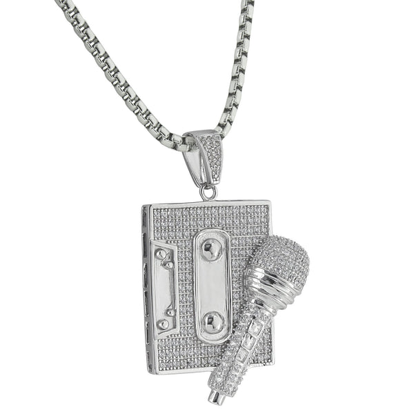 Mic Cassette Player Pendant  Old School Vintage 14K White Gold Finish Stainless Steel 24