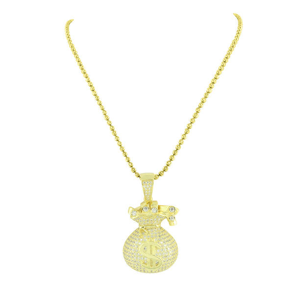 Gold Finish Money Bag Pendant 925 Silver Yellow Free Necklace