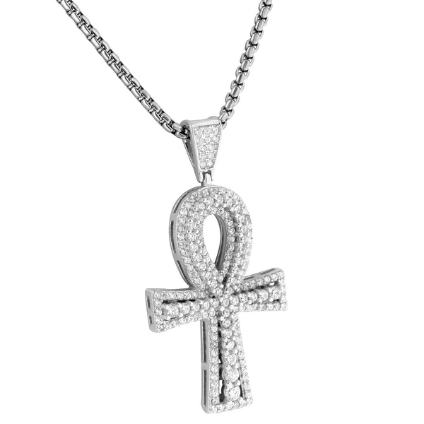 Sterling Silver Solitaire Ankh Cross Pendant Round Cut Lab Diamonds Box 24