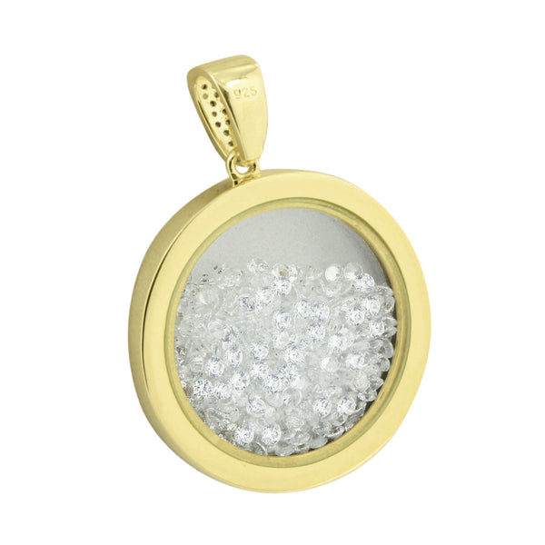 Floating Stone Medallion Charm