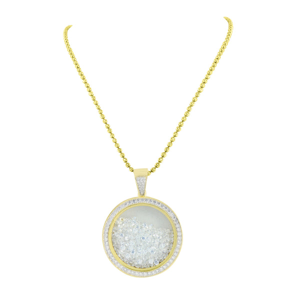 Floating Stones Round Pendant Gold Over Sterling Silver Chain