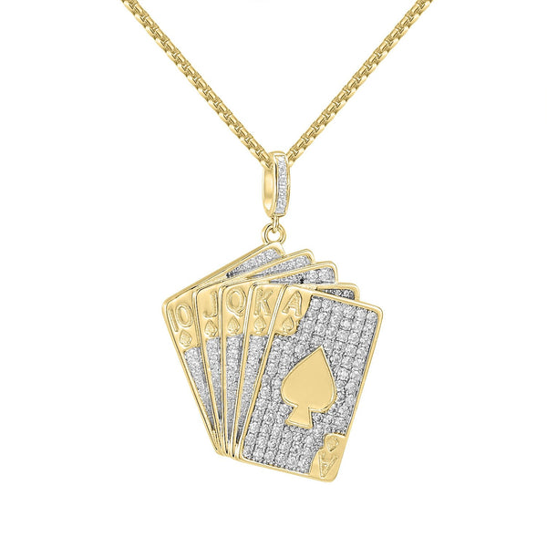 Men's 14k Gold Finish Custom Playing Cards  Pendant Free 24