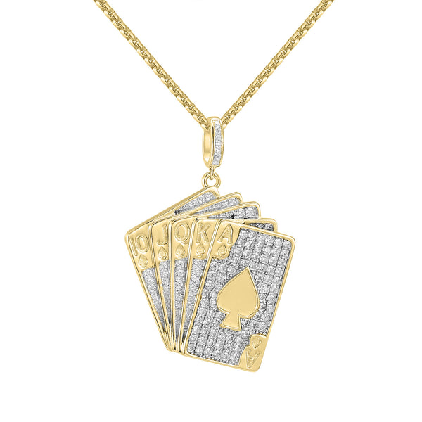 Men's 14k Gold Finish Custom Playing Cards Iced Out Pendant Free 24