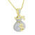 Money Bag Design Pendant Moon Cut Chain Gold Sterling Silver