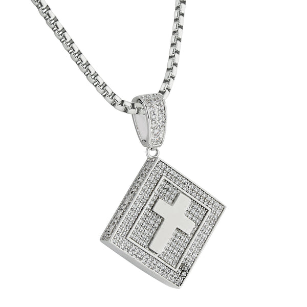 Holy Bible Book Pendant Cross Charm 14k Gold Finish Lab Diamonds Stainless Steel 24