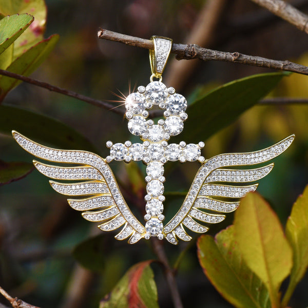 Men's Ankh Wing Sterling Silver Iced Out Pendant
