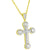 Solitaire Cross Pendant 14k Gold Tone Sterling Silver Lab Diamonds Free Bead Chain
