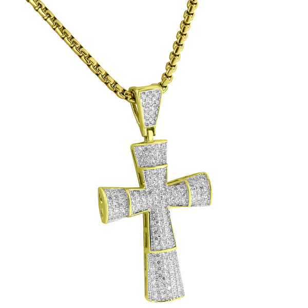 14k Gold Finish Pendant Iced Out Pave Lab Diamonds Jesus Charm Chain Sterling Silver