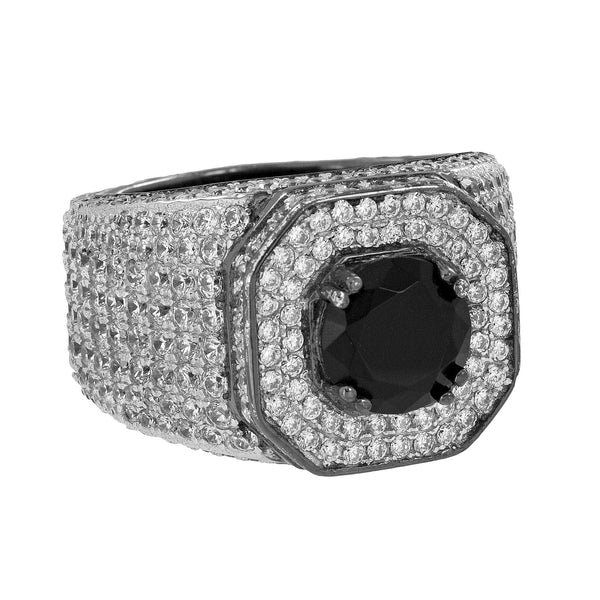 Solitaire Black Stone Ring Bling Simulated Diamonds Custom Mens