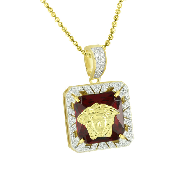 Medusa Garnet Ruby Pendant Gold Finish 925 Silver