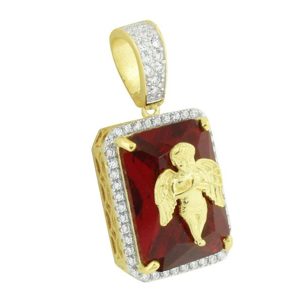 Angel Ruby Pendant 14K Yellow Gold Finish Over Silver