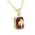 Angel On Garnet Ruby Pendant Moon Chain Gold Over 925 Silver