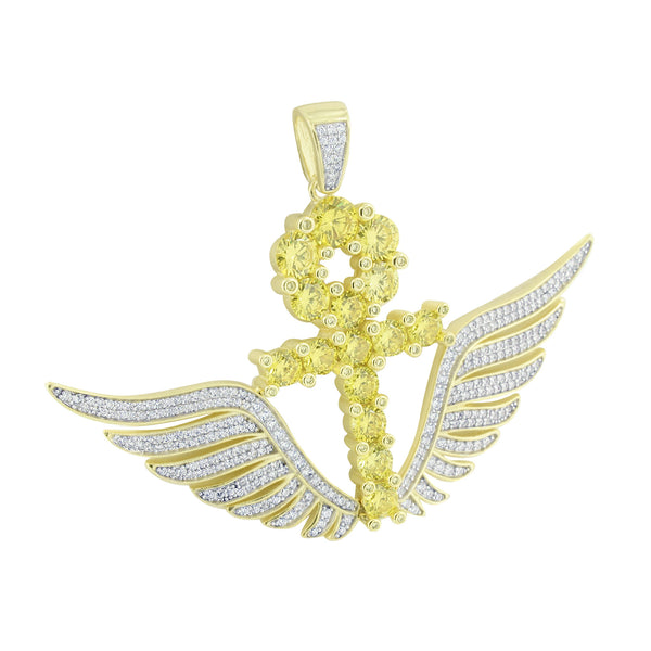 New Ankh Cross Canary Lab Diamond Yellow Gold Over Silver Pendant