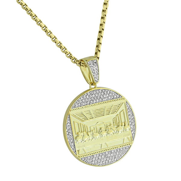 The Last Supper Pendant Round Jesus Christ Simulated Diamonds Prong Set 14K Gold Finish 24
