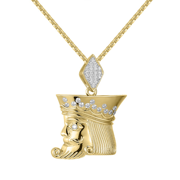 14k Gold Finish Custom King Face Iced Out Pendant with Free 24