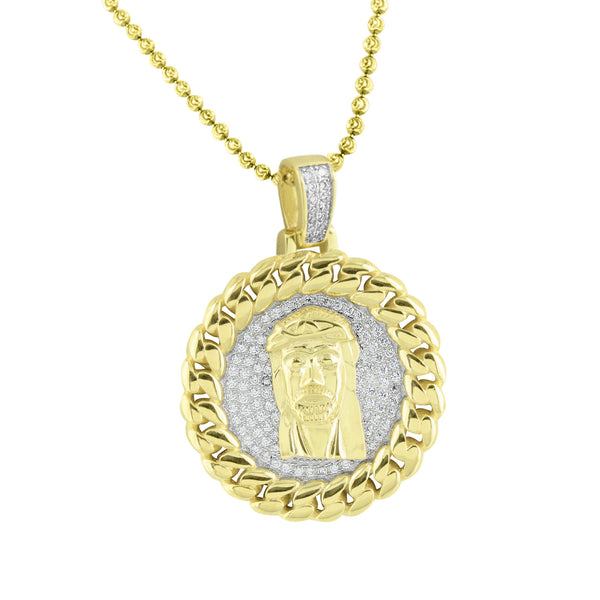 Miami Cuban Jesus Round Pendant Gold On 925 Silver