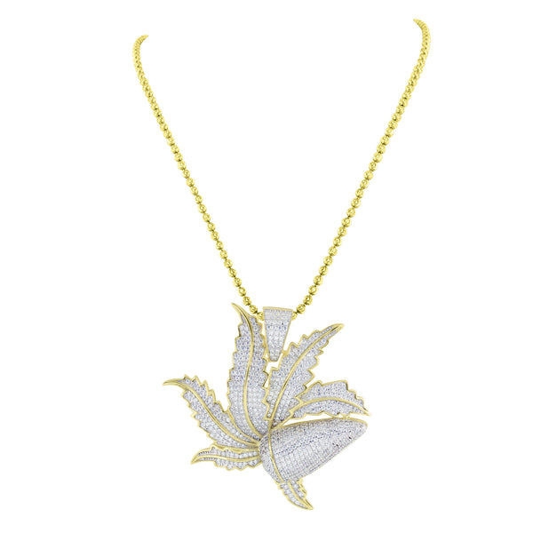 Marijuana Weed Leaf Pendant Gold Over Sterling Silver