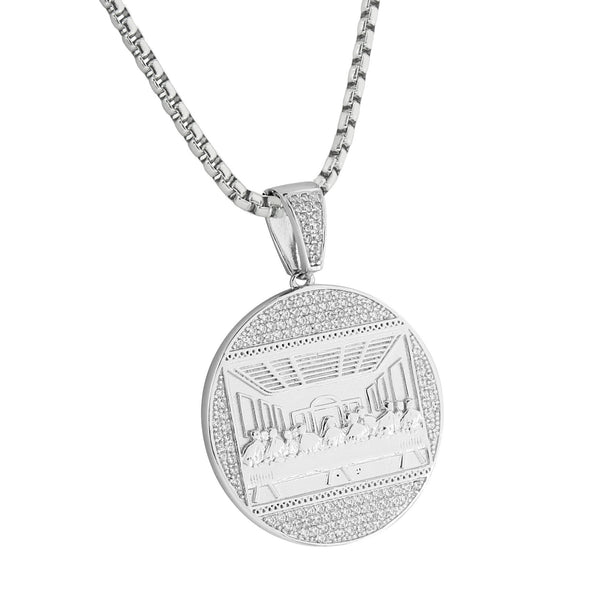 White Gold Finish Last Supper Pendant Bling Simulated Diamonds Stainless Steel 24