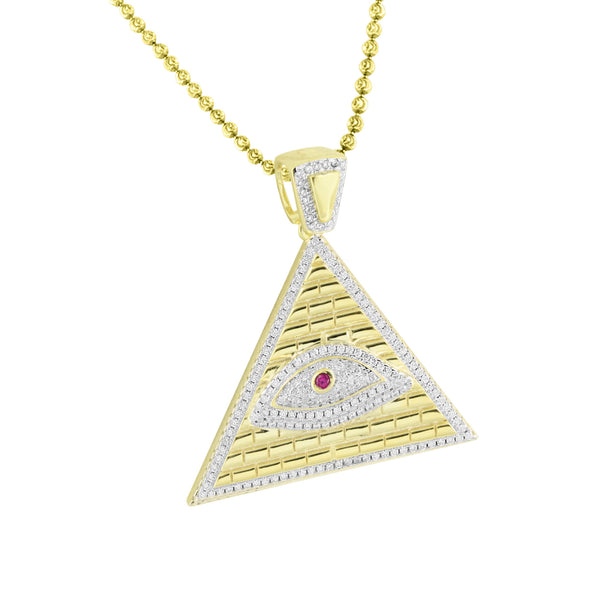 Evil Eye Pyramid Pendant Moon Cut Chain Gold Over 925