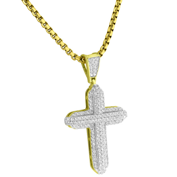 Sterling Silver Cross Pendant Pave Set Simultaed Diamonds 24