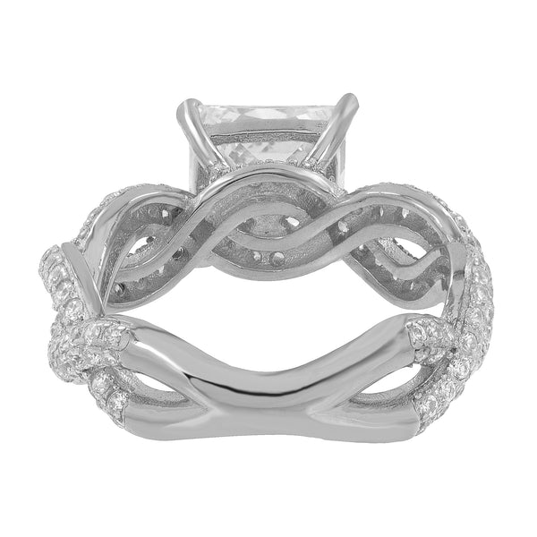 Princess Cut Square Ring Wedding Engagement Infinity Style