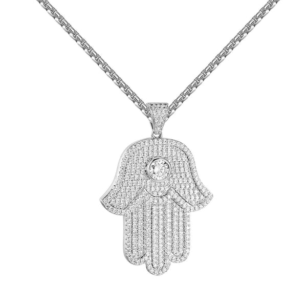 Solitaire Hamsa Hand Pendant Simulated Diamond Stainless Steel Chain